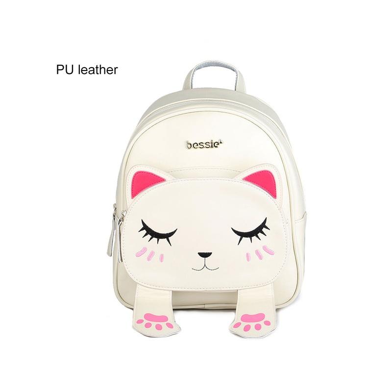 5aff74a479e51 ... Cute Cat Plecak Szkolny Kobiet Pu Skórzane Plecaki dla Nastoletnich  Dziewcząt Śmieszne Koty Uszy Płótno Torby