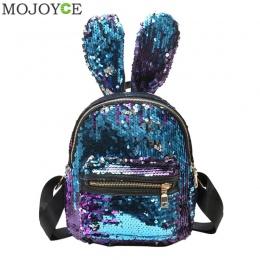 Mini Cekiny Plecak Śliczne Uszy Królika Torba Na Ramię Dla Kobiet Dziewczyn Torba Podróżna Bling Shiny Plecak Escolar Mochila Fe