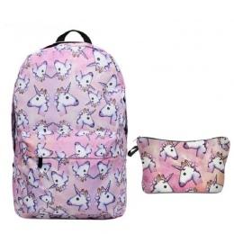 2 sztuk/zestaw Jednorożec Plecak 3D zwierząt Druk Plecak Podróży Miękka tornister Mochila Plecak Szkolny Dla Dziewczynek Bagpack