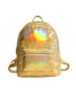 Małe hologram plecak laserowa holograficzny torba mochila feminino srebrny multicolor szkoły podstawowej skórzane daypack zaino