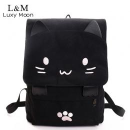Sprytny Kot Płótnie Plecak Cartoon Haft Fashio Czarny Druk Plecaki Dla Nastoletnich Dziewcząt Tornister Plecak mochilas XA69H