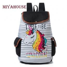 Miyahouse Cartoon Unicorn Drukowane Plecak Szkolny Dla Nastolatek Sznurek Deisgn Kobiet Podróży Plecak Płótnie Plecak Pani