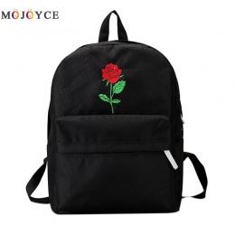 Plecak Kobiety Płótnie Rose Kwiat Haft Student Teenage Girls Szkoła Plecak Torba Podróżna Czarny Plecak Mochila Feminina