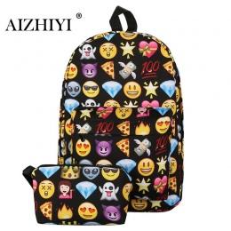 2 sztuk Emoji Plecak 3D Śliczny Uśmiech Drukowania Plecak Wodoodporny Nylon Plecaki dla Nastoletnich Dziewcząt Podróży Tornister