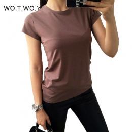 Wysokiej Jakości 18 Kolor S-3XL Zwykły T Shirt Kobiety Bawełna Elastyczna Podstawowe Koszulki Kobieta Dorywczo Bluzki Z Krótkim