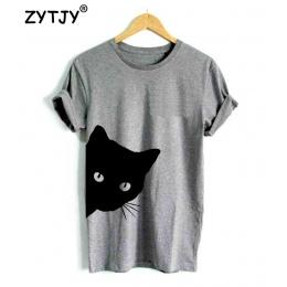 Kot patrząc out side Drukuj Kobiety tshirt Bawełna Casual Śmieszne t shirt Dla Pani Dziewczyna Top Tee Z-1056 Tumblr Hipster Dro