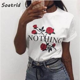 Nic List Rose Drukuj Kobiet T Koszula Harajuku Koszulki Kobiety 2017 Nowy Lato Z Krótkim Rękawem Casual Odzież Punk Tee Topy