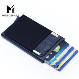 Aluminiowy Portfel Z Tylnej Kieszeni Posiadacza Karty ID RFID Blokowanie Mini Slim Metal Portfel Automatyczne Pop up Karty Kredy