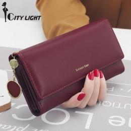 Nowe Mody Kobiety Portfele Długi Style wielofunkcyjny portfel Portmonetka Świeże PU skóra Kobiet Posiadacz Karty Sprzęgła