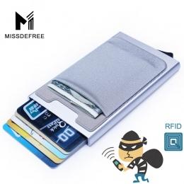 Aluminiowy Portfel Z Elastyczność Tylnej Kieszeni Posiadacza Karty ID Rfid Blokowanie Mini Slim Portfel Automatyczne Pop up Cred