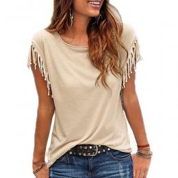 Kobiety Bawełna Pomponem Dorywczo T-shirt Bez Rękawów, Jednolity Kolor Koszulki Z Krótkim Rękawem O-neck kobiet Odzież t shirt