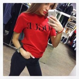 2018 Nowy Letni T-Shirt Kobiety VOGUE High Cotton Fashion Red list Wydrukuj Casual Dzianina Punk Tees Koszula Z Krótkim Rękawem