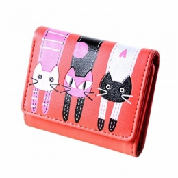 Torby dla kobiet 2018 Kobiety Kot Wzór Monety Kiesy Krótki Portfel Posiadaczy Kart Torebka luksusowe torebki damskie torebki Skó