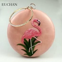 Flamingi Euchan Okrągłe Torebka Damska Torba Hafty z Diamond Ring Uchwyt Mody Dziewczyny Party Sprzęgła Lato Crossbody Torba