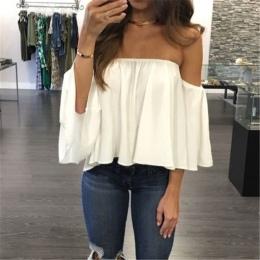2017 New Arrival Lato T-shirt Moda damska Panie Koronki Off-shoulder Casual Topy, T Shirt