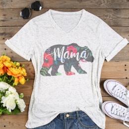 Plus Size T Shirt Kobiety V Neck Krótki Rękaw Lato Floral mama niedźwiedź t Koszula Przypadkowa Kobieta Tee Topy moda t shirt 3X