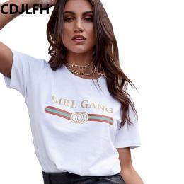 CDJLFH 2017 Koszulka Kobiety Moda Krótki Rękaw Lato Jesień Tshirt Retro kobiet Topy Tee Lady T Shirt Kobieta Sexy Koszulki biały