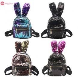 Mini Shining Cekiny Plecak Królik Ucho Plecak Na Ramię dla Kobiet Dziecko Dziewczyna Torba Podróżna Zipper Shiny Sac Ados Mochil