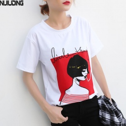 NIJIUDING 2017 Nowy Projekt 10 Style Women Casual Biały T Koszula Kobiet Krótkim Rękawem Top Trójniki Drukowane t-shirt Kobiety