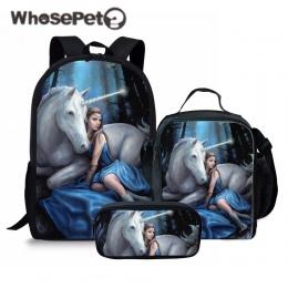 WHOSEPET 3 sztuk/zestaw Jednorożec koń Drukowania Torby Szkolne dla Dzieci Chłopcy Szkoła Plecaki Ramię Bagpack Dzieci Bookbag S