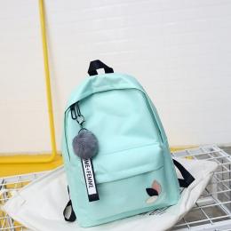 2018 Stałe plecak dziewczyna torby szkolne dla nastoletnich College wiatr Kobiety Tornister Wysokiej uczeń torba czarny nylon dr