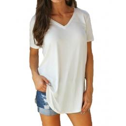 Damska Koszulka Lato Plus Size Tee Podstawowe Koszulki Kobiety Stałe V Neck Krótki Rękaw Długi Casual Duży Rozmiar Kobiet 4XL 5X