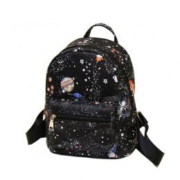 Kobiet Czarny Plecak Cartoon Gwiazda Wszechświat Kosmos Wysokiej Jakości Małe Skórzane Plecaki Młodzieżowe Dla Nastoletnich Dzie