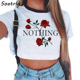 Nic damskie List Rose Crop Top Z Krótkim Rękawem T-shirty Damskie Brand New Casual Tees Lato Kobiet T Koszula Słodkie Przycięte