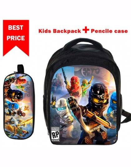 0e9a210541cc9 Dzieci 3D Kreskówki Torby Szkolne Chłopcy Dziewczęta Plecaki Lego Ninjago  Wzór Tornister Dzieci Codzienne Plecaki Najlepszy