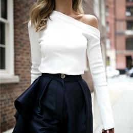 TWOTWINSTYLE Biały T-Shirt Kobiet Off Shoulder Slash Neck Sexy Top Podział Długim Rękawem damskie Koszulki Koreański Odzież Duże