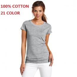 2018 100% Bawełny Wysokiej Jakości 21 Kolor Moda Lato T koszula Kobiet Podstawowe Koszulki Kobieta Dorywczo Bluzki Z Krótkim Ręk