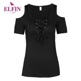 Lato Kobiet T Koszula Jednolity Kolor Z Koronki Up Bandaż Criss Krzyż Dorywczo Krótki Rękaw Tshirt Zimno Ramię Trójniki Topy 5XL