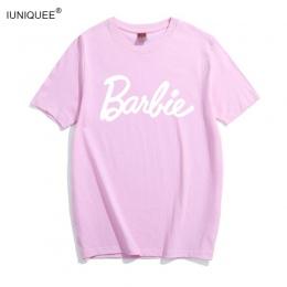 Barbie List Druku Bawełniana Koszulka Kobiety Sexy Tumblr Graphic tee różowy szary t shirt Casual tshirts Bae Topy Stroje tees k