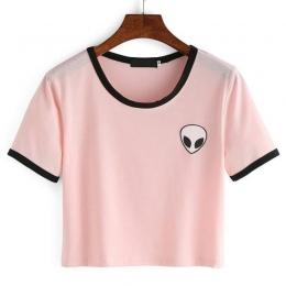 2018 Moda Druku 3d Aliens crop top Z Krótkim Rękawem T Shirt kobiety Młodzieży Koszulki Topy Lato Okrągły Dekolt O Trójniki szyi