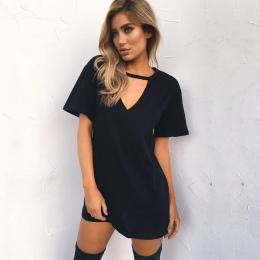 Kobiety Lato T-Shirt 2018 Dorywczo Luźne Koszulek Z Krótkim Rękawem Sexy Dekolt Bawełna Koszulkę Femme Panie Długi Topy Plus Siz