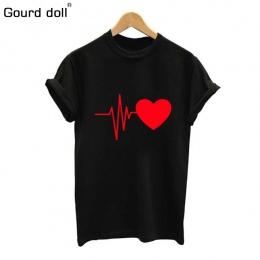 Gurda lalka 2018 Bawełna Miłość Druku T Shirt Dla Kobiet Lato T-shirt Na Co Dzień Multicolor Wzór Śmieszne Panie Koszula Top Tee