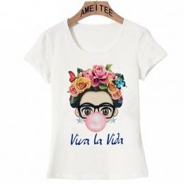 Charyzmatycznych Frida Kahlo Cute cartoon art T Koszula Lato Śliczne Kobiety T Shirt 2018 nowy projekt Topy dziewczyna koszulka