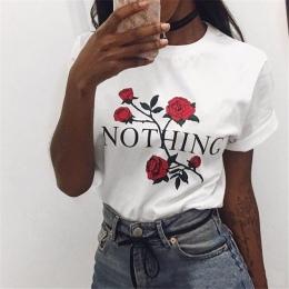 Nic List Print T Shirt Rose Harajuku T-Shirt Kobiety 2018 Lato Dorywczo Krótki Rękaw TShirt Biały Szary Punk Koszule 32785