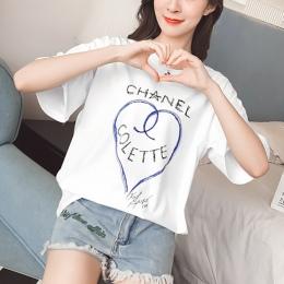 TEAEGG Krótki rękaw T-shirt 2018 Nowy wzór luźne i wygodne joker Wypoczynek Student miłość drukowanie Najniższy koszula km704