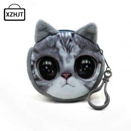 11 Styl Mini 3D Kot Pluszowy Zwierząt Wydruki Zipper Portfele Monety Kiesy Gato Harajuku Torba Kobiety Monedero Billeteras Ślicz