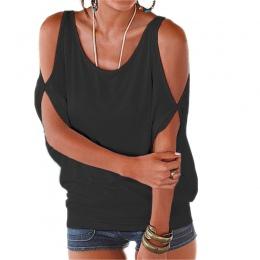 ZSIIBO Szczelina Rękawem Zimno Ramię Bluzki Koszula Kobiety Dorywczo Lato T Shirt Dziewczyna 2017 Tee T shirt Luźna Koszulka Gór