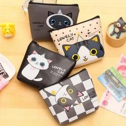 Kawaii Kreskówki Dla Dzieci Dziewczyny Mini monety kiesy portfel kobiet małe PU Leather Cat Klucz posiadacze Etui Zipper Portmon