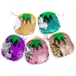 Piękny śliczne mermaid sequines małe monety kiesy kieszonkowy ananas słuchawki posiadacza karty portfel przechowywania worek pie