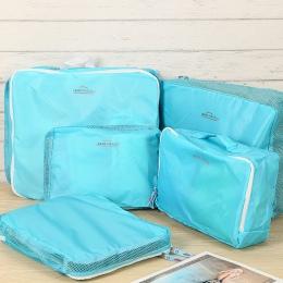 IUX 5 sztuk/zestaw Mody Podwójna Zamek Wodoodporny Poliester Mężczyźni i Kobiety Torby Podróżne Na Bagaż Pakowania Kostki Organi