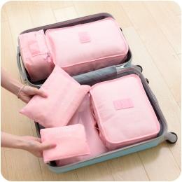 Kolekcja torba podróżna torba zestaw 6 sztuk/zestaw Mężczyźni i Kobiety Torby Na Bagaż Podróży Wodoodporny Poliester opakowanie