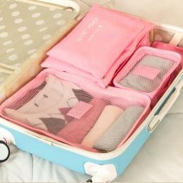 Koreański styl 6 sztuk/zestaw Podróży Pakowania organizatorzy wodoodporny Nylon Bagażu Walizki Etui Ubrania pakiet wykończenia a