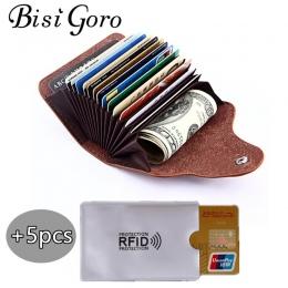BISI GORO 2018 Mężczyzn I Kobiet Prawdziwej Skóry Unisex Biznes Posiadacz karty Portfel Banku Credit Card Case ID Posiadacze kar