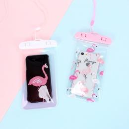 Śliczne Flamingo Kaktus Wodoodporna Torba Etui Telefon komórkowy PCV Case For iPhone Samsung Monety Kiesy Posiadacz Karty Portfe