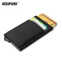 Mężczyźni Aluminium Portfel Z Tylnej Kieszeni Posiadacza Karty ID RFID Blokowanie Mini Slim Metal Portfel Automatyczne Pop up Ka