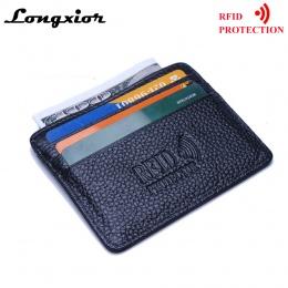 MRF12 RFID Blokowanie Slim Skórzany Portfel Skóra Bydlęca Przednia Kieszeń Posiadacz karty Etui na karty Kredytowej Z Okna ID Id